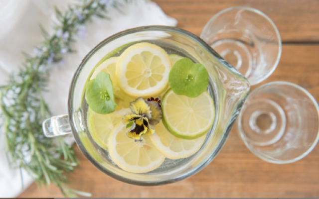 Floral garnishes for water.